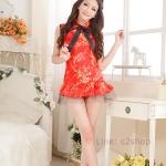 คอสเพลย์กี่เพ้าสีแดงแขนกุดกระโปรงสั้นแบบบานน่ารักมากใส่กี่เพ้าแดงในช่วงตรุษจีน