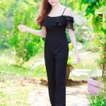 """""""พร้อมส่ง"""" เสื้อผ้าแฟชั่นไทย จั้มสูทขายาว แต่งผ้าแก้ว -สีดำ"""