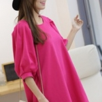 """""""พร้อมส่ง""""เสื้อผ้าแฟชั่นสไตล์เกาหลีราคาถูก Brand Cherry koko Mini dress ทรงปล่อย แขนพัฟพองๆ กระเป๋า2ข้าง ผ้าหนา ไม่มีซับใน -สีชมพู"""
