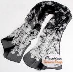 ผ้าพันคอแฟชั่นลายดอกไม้ Blossom : สีขาวอมดำ CK0002
