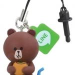 """""""พร้อมส่ง""""นำเข้าจากญี่ปุ่น 100% LINE Pluggy จุกปิดกันฝุ่นแบบมีตุ๊กตาห้อย -Brownหิว"""