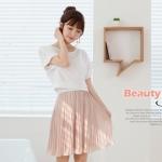 """""""พร้อมส่ง""""เสื้อผ้าแฟชั่นสไตล์เกาหลีราคาถูก Brand Cherry dress เดรสset 2 ชิ้น ตัวในเดรสสายเดี่ยวสีขาวต่อกระโปรงอัดพลีตสีชมพู จั๊มเอว ตัวนอกเสื้อแขนสั้นสีขาว"""