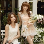 ♡♡Pre Order♡♡ ชุดเดรสสั้นเกาหลี mini dresses ผ้าชีฟองเนื้อดี แต่งผ้าลูกไม้โปร่งสีขาวทั่วตัวแขนกุด คอกลม สวมใส่สบาย หรูหราน่ารักมากๆ ค่ะ