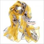 ผ้าพันคอแฟชั่น ลายหน้ากากหัวกระโหลก : สีเหลือง CK0349