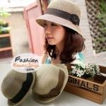 หมวกแฟชั่นทรงขนมเค้ก คาดดอกไม้ญี่ปุ่น BH0014