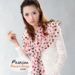 ผ้าพันคอแฟชั่นลายหัวใจ Sweet Heart : สีชมพู CK0125