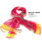 ผ้าพันคอแฟชั่น ลายยีราฟ Giraffe : สีชมพู CK0390