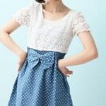 """""""พร้อมส่งค่ะ""""เสื้อผ้าแฟชั่นสไตล์เกาหลีราคาถูก Brand Catworld เดรสเสื้อลูกไม้มีซับใน แขนตุ๊กตา ต่อกระโปรงยีนส์สีฟ้าจุดขาว สม๊อกเอว ติดโบว์ ไม่มีซับในกระโปรงค่ะ น่ารัก"""