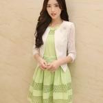 เสื้อสูทผ้าลูกไม้แขนยาวสีขาว สไตล์เกาหลี