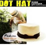 หมวกแฟชั่นทรงขนมเค้ก คาดริบบิ้นดำ : สีเบจ BH0011