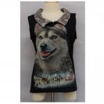 MC01-005 (Skene) เสื้อยืดคอปกเลื่อมสกีนลายสุนัขด้านหน้า