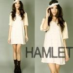 """""""พร้อมส่ง""""เสื้อผ้าแฟชั่นสไตล์วินเทจราคาถูก Hamlet แซกแขนพอง"""