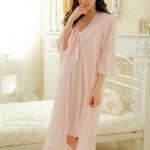 ชุดนอนซีทรูแบบชุดคลุมนอนสีชมพูอ่อนมาครบเซ็ท