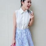 """""""พร้อมส่ง""""เสื้อผ้าแฟชั่นสไตล์เกาหลีราคาถูก เดรสเสื้อเชิ้ตชีฟองแขนกุด กระดุมหน้า ต่อกระโปรงลายทางสีฟ้าขาว จั๊มเอว ไม่มีซับใน น่ารักค่ะ"""