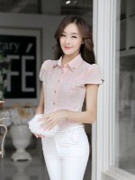 เสื้อทำงานผ้าลูกไม้แขนสั้นแฟชั่นน่ารักๆสีชมพู