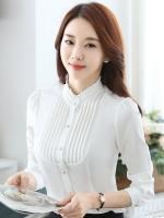 เสื้อเชิ้ตทำงานแขนยาวสีขาว สำหรับเป็นชุดยูนิฟอร์ม ชุดพนักงาน