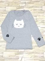 ขายส่ง:เสื้อยืดคอกลมแขนยาวแต่งสกรีนหน้าแมวน่ารัก/อก34