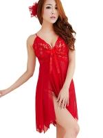 ชุดนอนซีทรูเซ็กซี่สีแดงเลือดหมูสวยมากค่ะ ใส่แล้วเป็นสาวไฮโซทันทีเบย
