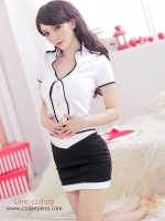 ชุดคอสเพลย์แฟนซี แอร์โฮสเตสเสื้อสีขาวกระโปรงสีดำ