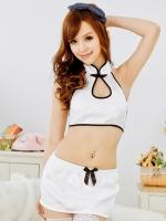 ชุดนอนกี่เพ้าสีขาวขอบดำน่ารักนะ เอวลอยคอจีนแหวกหลัง