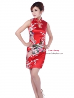 Size S / M / L/ XL / XXL ชุดกี่เพ้าสีแดงลายนกยูงสำหรับสาวอวบจร้า