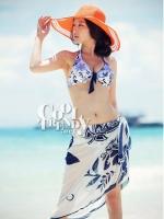 ผ้าคลุมเดินชายหาด ผ้าชายทะเล : ผ้าชีฟอง size 150x100 cm - ลายดอกไม้น้ำเงินพื้นขาว