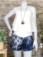 ส่ง:เช็ท2ชิ้นแบบเก๋ๆเสื้อทรงสวิง+กางเกงเส้นรังสีดาวแบบน่ารัก