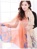 ผ้าพันคอลายดอกคาเนชั่น Carnation : สีส้ม ผ้า Viscose size 180x90 cm