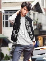 ผ้าพันคอผู้ชาย Man scarf ลายทหาร Camo scarf : สี Gray army