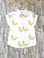 ส่ง:เสื้อปกกระดุมผ่าหน้าแขนเบิ้ลลายกล้วยแบบน่ารัก/อก42