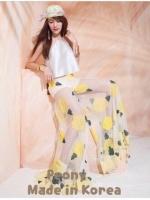 เอาใจคนตามงานแบรนด์ สไตล์เซเลบ Kloset Holiday Heart Breaker กางเกงขาบานซีทรู ปักดอกสีเหลืองสไตล์แบรนด์ kloset