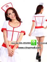 ชุดพยาบาลสาวสีขาวขลิบแดง ชุดแฟนซีอาชีพ ชุดแฟนซีพยาบาล ชุดคอสเพลย์ ชุดแฟนซีอาชีพในฝัน