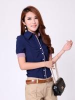 เสื้อเชิ๊ตทำงานผู้หญิงแขนสั้น สีน้ำเงิน คลิปสก๊อต