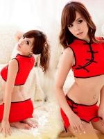 ชุดกี่เพ้าเซ็กซี่สีแดงเอวลอยงานสวยมาก