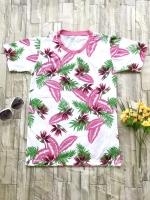 ส่ง:เสื้อยืดคอกลมพิมพ์ลายดอกลายใบไม้สีสดใส/อก34-35