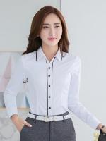 เสื้อเชิ้ตผู้หญิงแขนยาว สีขาว คลิปดำ เป็นชุดทำงานชุดยูนิฟอร์มเรียบหรู