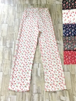 โปรขายครบสี5สี:กางเกงลายดอกขาตรงผ้าพริ้วทรงใส่พริ้ว/เอวยืด26-36