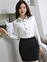 เสื้อเชิ้ตทำงานแขนยาว สีขาวคลิปดำ เป็นยูนิฟอร์มได้