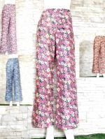 โปรขายครบสี4สี:กางเกงลายดอกขาตรงผ้าพริ้วทรงใส่พริ้ว/เอวยืด26-36