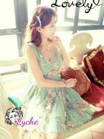 พร้อมส่ง สไตล์ Japanese ViVi 3D Flower dress ATA494 เดรสลูกไม้สองชั้นแขนกุด ติดดอกไม้สามมิติ ผ้าลูกไม้น่ารักสุดๆ โทนฟ้า stock574