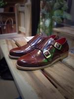 รองเท้าผู้ชาย | รองเท้าแฟชั่นชาย Red Brown Double Monk Strap หนังแท้ ขัดเงา
