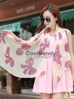 ผ้าพันคอลายโบว์ : Bow print scarf สีครีม - ผ้าชีฟอง 160 x 45 cm