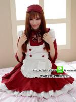 ชุดเมดสีชมพูเอี๊ยมขาว ชุดคอสเพลย์ ชุดแม่บ้านน่ารัก ชุดแฟนซีเครื่องแบบ ชุดแฟนซีญี่ปุ่น ชุดแฟนซีสีแดง