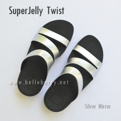 รองเท้า FitFlop SUPERJELLY TWIST : Silver Mirror : Size US 7 / EU 38