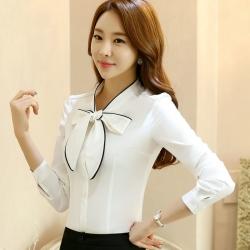 เสื้อเชิ้ตทำงานแขนยาวสีขาว โบว์หน้าคลิปดำ เป็นชุดยูนิฟอร์มได้