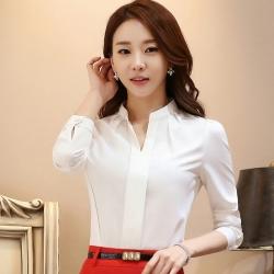 เสื้อทำงานแขนยาวสีขาว คอวีแบบสวม ไม่มีกระดุม เรียบๆ