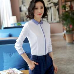 เสื้อเชิ้ตทำงานผู้หญิงแขนยาวเรียบหรู สีขาวคลิปเทา