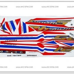 สติ๊กเกอร์ WAVE125-I ปี 2010 รุ่น 6 ลายธงชาติ
