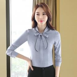 เสื้อเชิ้ตทำงานแขนยาวสีเทา โบว์หน้า สำหรับเป็นชุดยูนิฟอร์ม ชุดพนักงาน