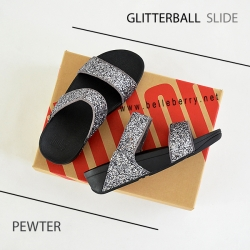 FitFlop : GLITTERBALL Slide : Pewter : Size US 8 / EU 39